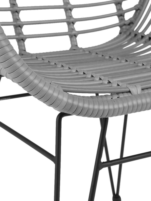 Sedia con braccioli Costa 2 pz, Seduta: intreccio polietilene, Struttura: metallo verniciato a polv, Grigio, gambe nero, Larg. 60 x Prof. 58 cm