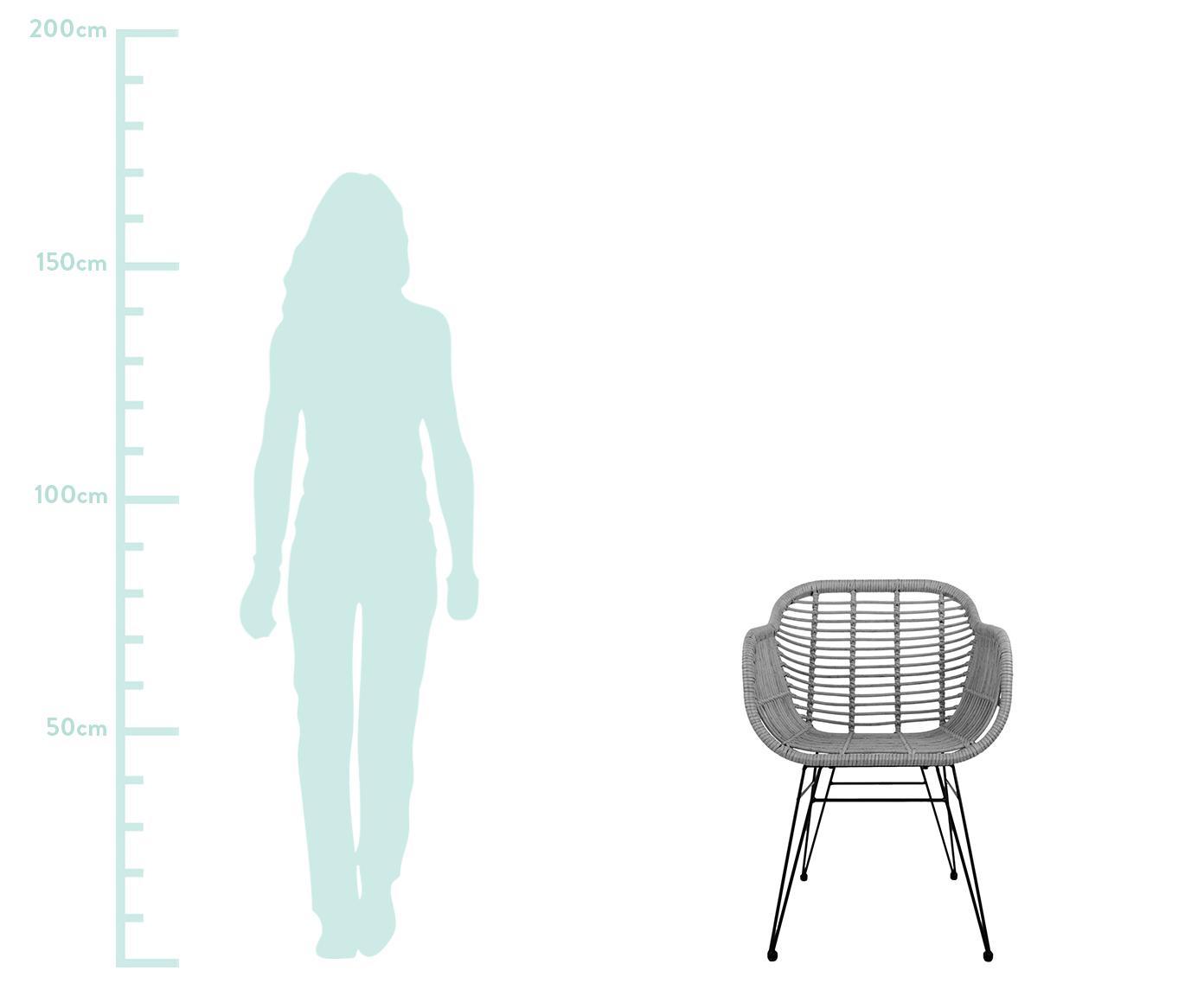 Polyrotan armstoelen Costa, 2 stuks, Frame: gepoedercoat metaal, Zitvlak: grijs. Frame: zwart, B 60 x D 58 cm