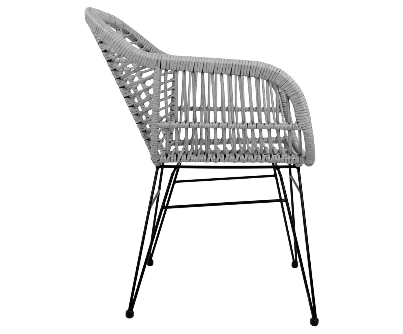 Sillas con reposabrazos Costa, 2uds., Asiento: polietileno, Estructura: metal con pintura en polv, Gris, negro, An 60 x F 58 cm