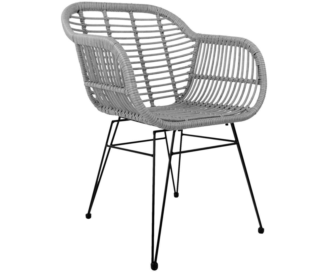 Polyrattan-Armlehnstühle Costa, 2 Stück, Sitzfläche: Polyethylen-Geflecht, Gestell: Metall, pulverbeschichtet, Grau, Beine Schwarz, B 60 x T 58 cm