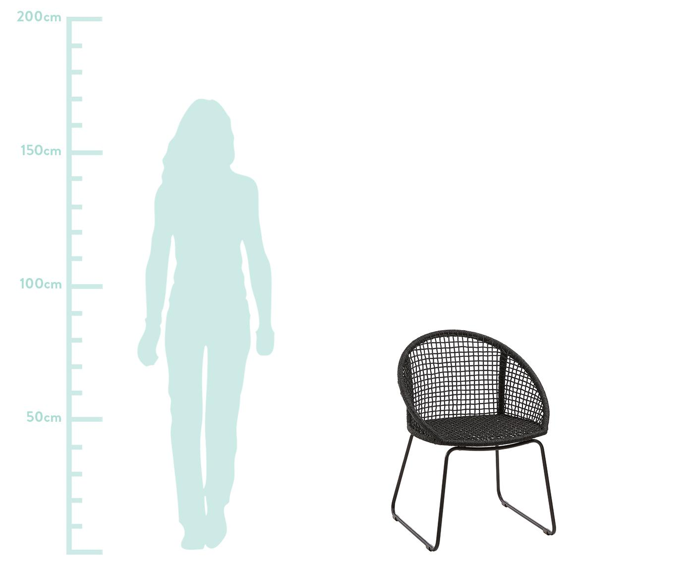 Krzesło ogrodowe  z podłokietnikami Sania, 2 szt., Nogi: metal malowany proszkowo, Ciemny szary, S 65 x G 58 cm