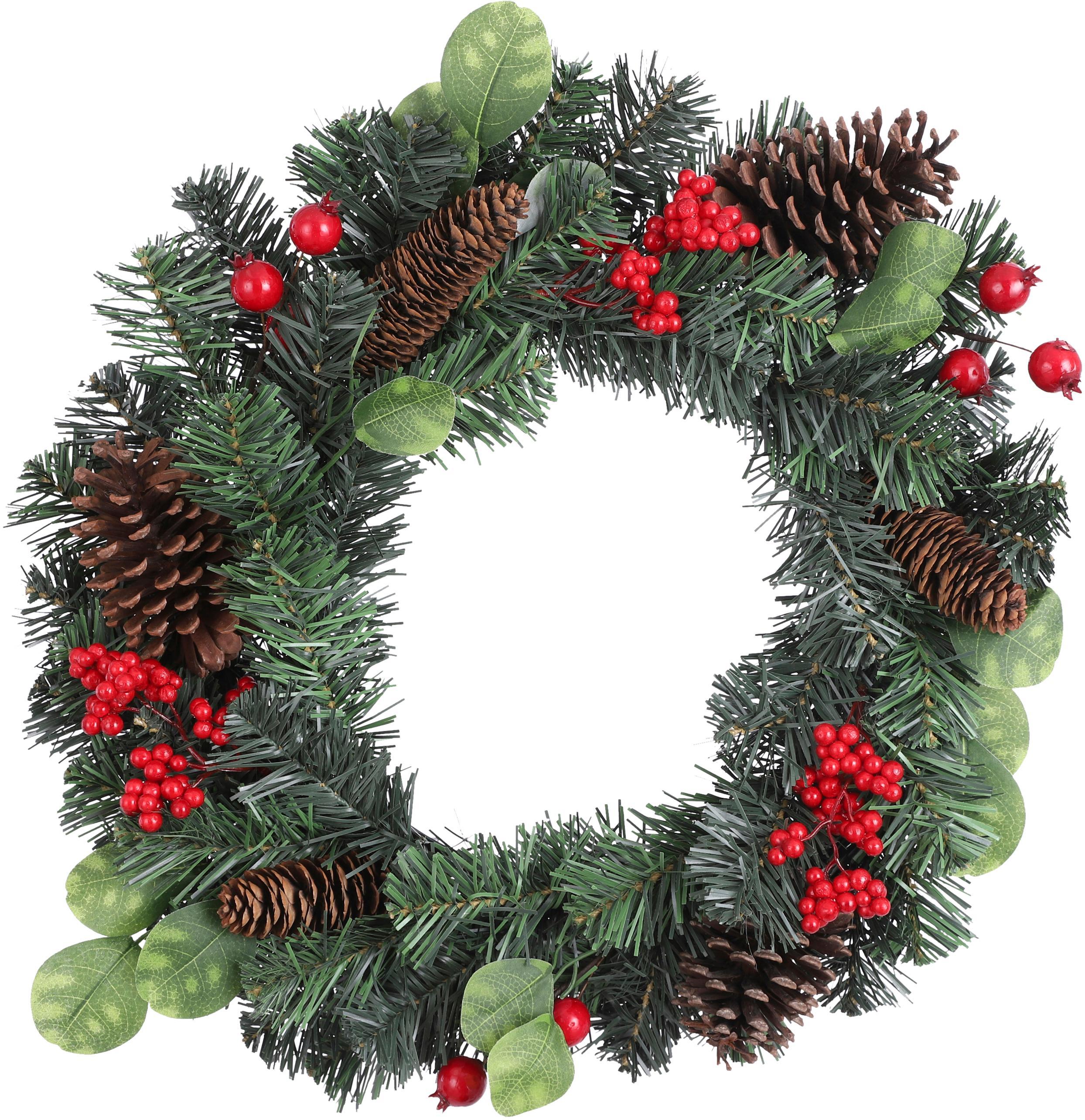 Künstlicher Weihnachtskranz Matiz, Kunststoff, Grün, Rot, Braun, Ø 50 cm