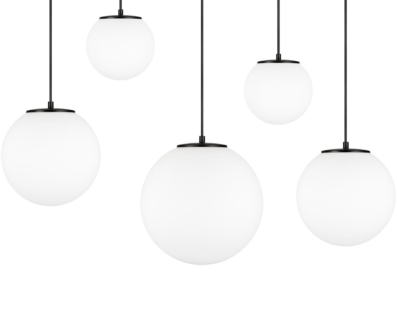 Hanglamp  met bollen Tsuki van opaalglas, Lampenkap: opaalglas, Opaalwit, zwart, 95 x 166 cm