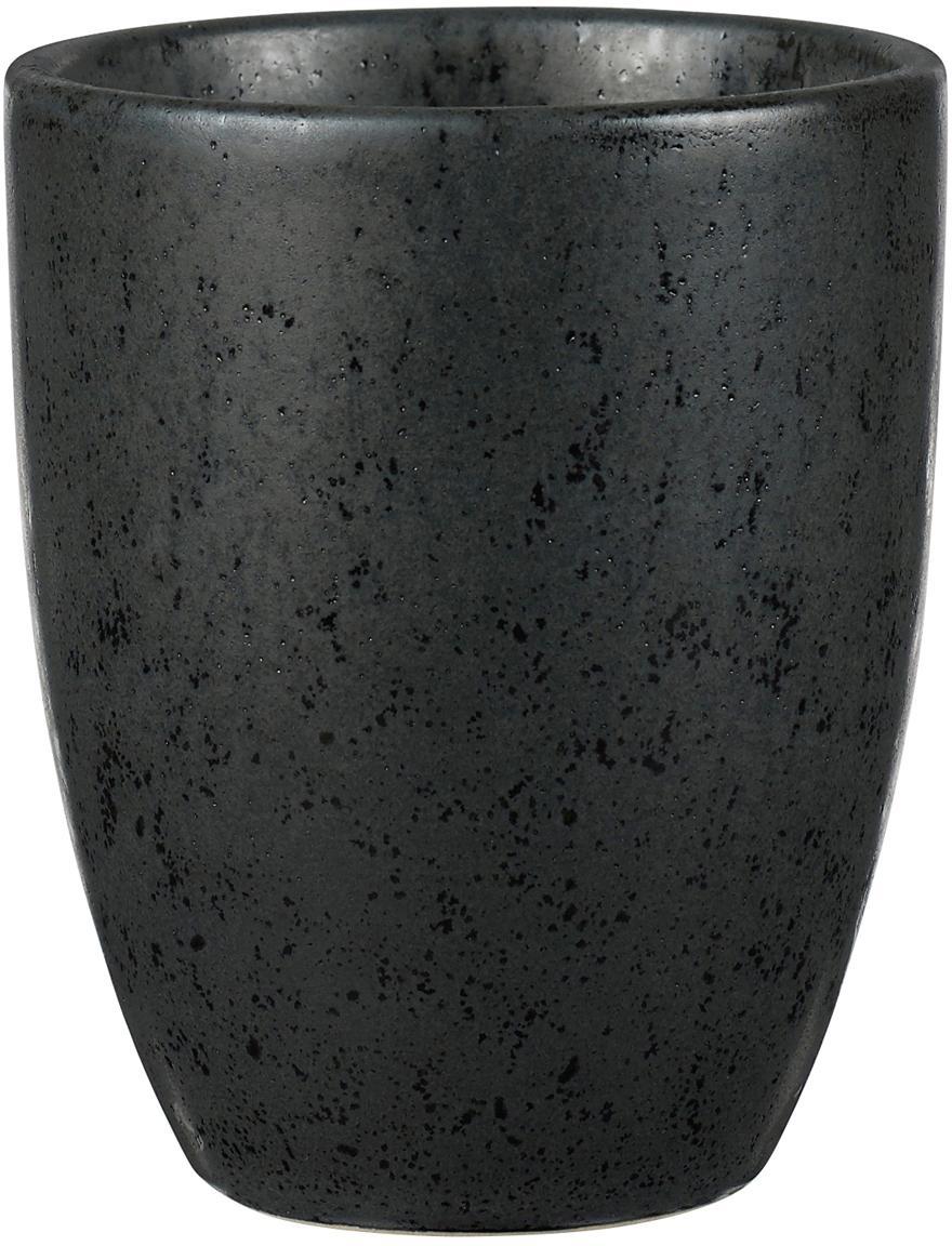 Steingut-Becher Stone mit Sprenkel-Glasur, 2 Stück, Steingut, glasiert, Schwarz, Ø 8 x H 10 cm