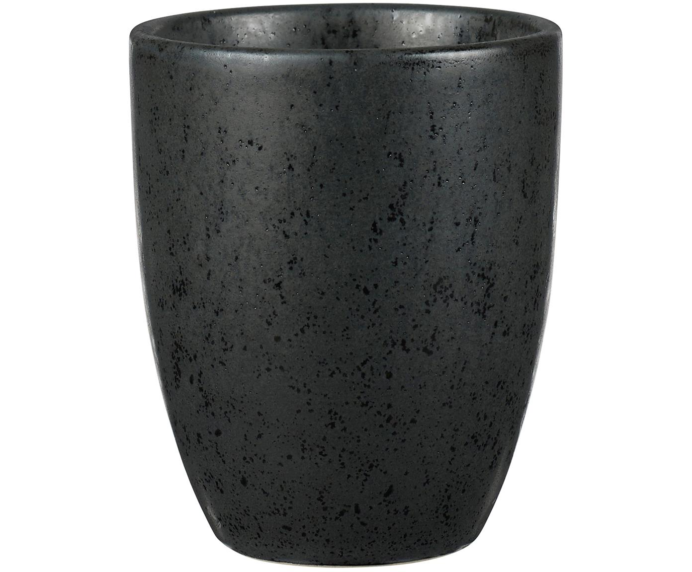 Becher Stone, 2 Stück, Steingut, glasiert, Schwarz, Ø 8 x H 10 cm
