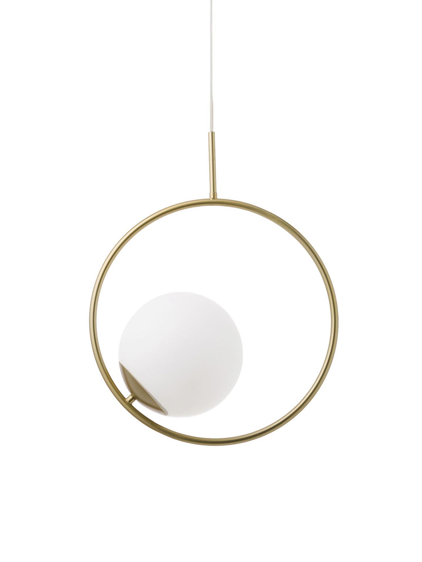 Pendelleuchte Chloe aus Glas und Metall, Lampenschirm: Glas, Weiß, Messing, 40 x 51 cm