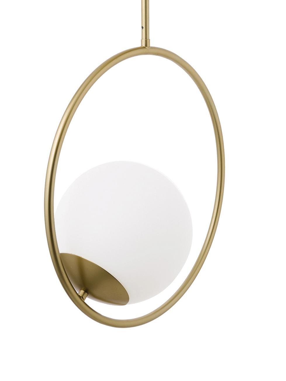 Lampa wisząca ze szkła i metalu Chloe, Biały, mosiądz, S 40 x W 51 cm