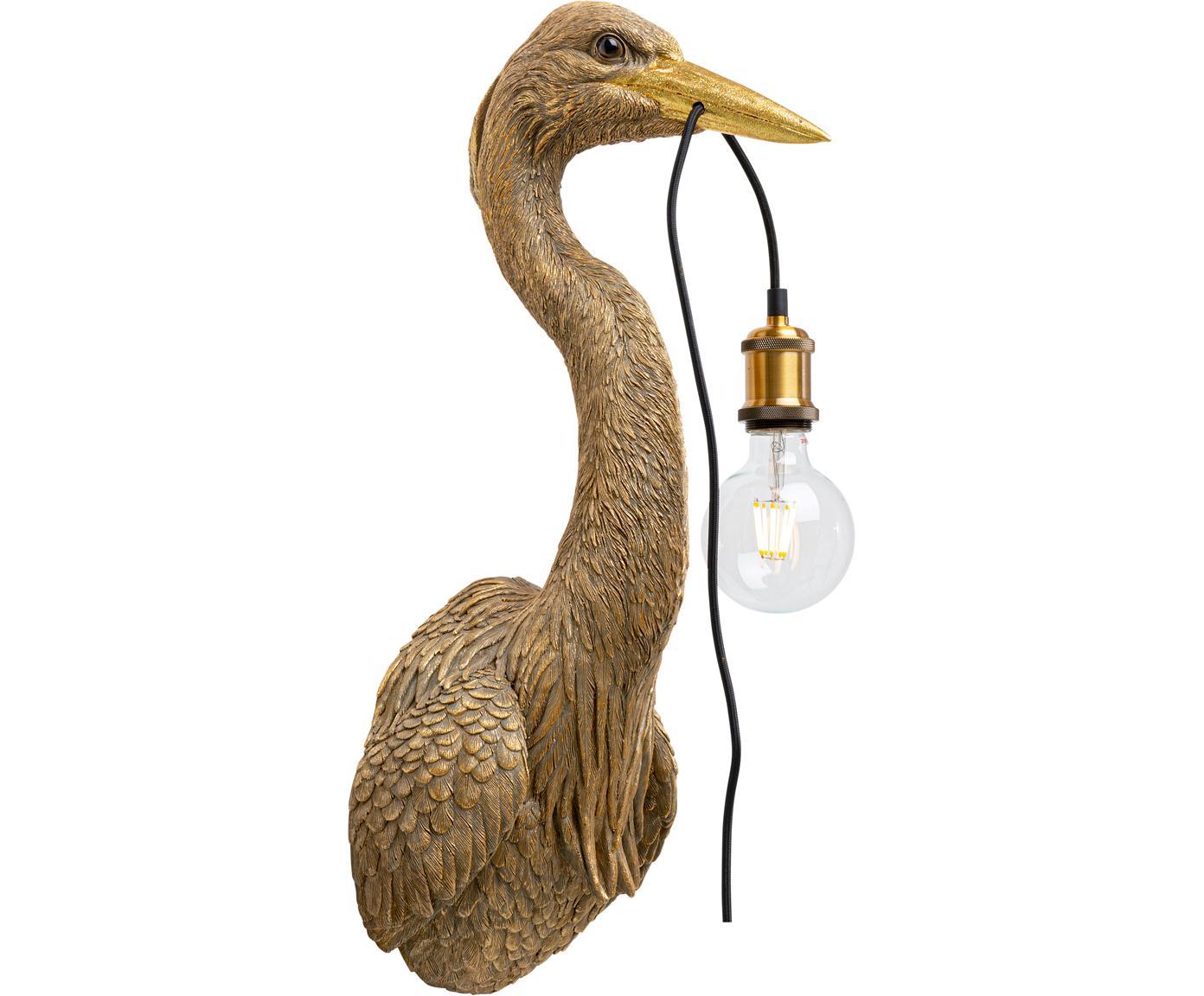 Handgefertigte Wandleuchte Heron mit Stecker, Polyresin, Braun, 26 x 62 cm
