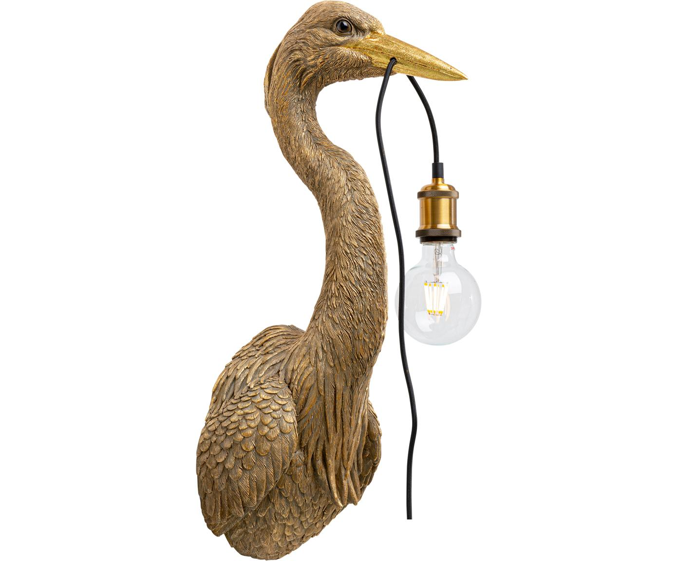 Handgemaakte wandlamp Heron, Polyresin, Bruin, 26 x 62 cm