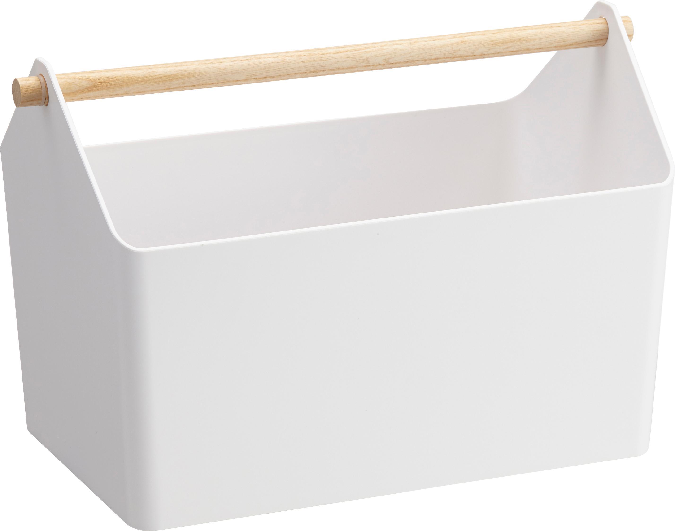 Cesto Favori, Maniglia: legno, Bianco, marrone, Larg. 37 x Alt. 24 cm