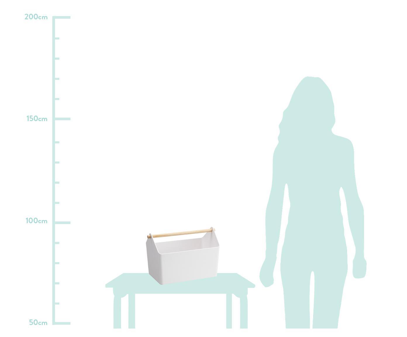 Aufbewahrungskorb Favori, Korb: Polypropylen, Griff: Holz, Weiß, Braun, 37 x 24 cm