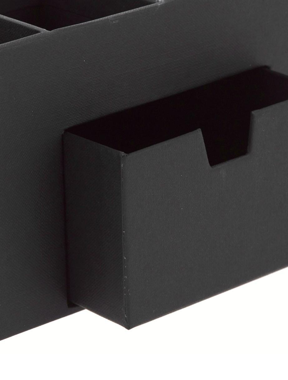 Büro-Organizer Vendela, Fester, laminierter Karton (100% recyceltes Papier), Schwarz, 24 x 11 cm