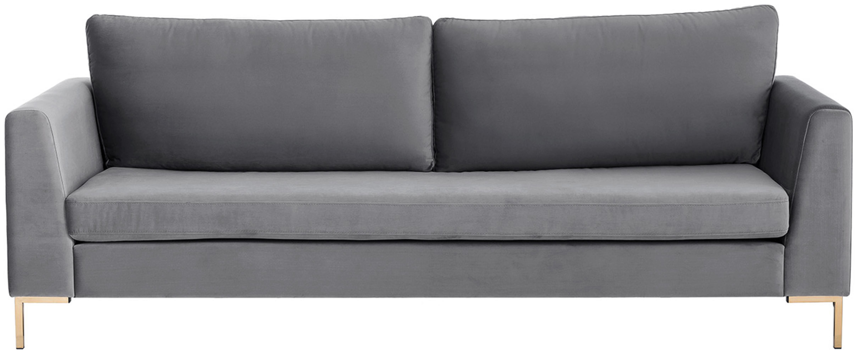 Sofa z aksamitu Luna (3-osobowa), Tapicerka: aksamit (poliester) 8000, Stelaż: lite drewno bukowe, Nogi: metal galwanizowany, Aksamitny ciemny szary, złoty, S 230 x G 95 cm