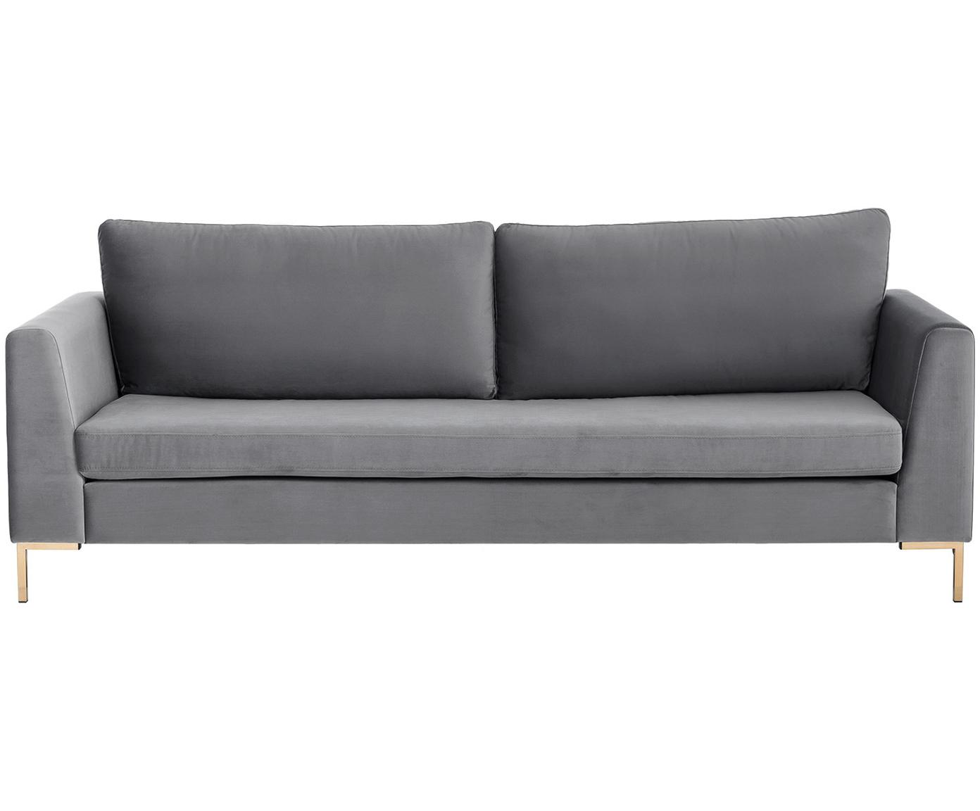 Samt-Sofa Luna (3-Sitzer), Bezug: Samt (Polyester) 80.000 S, Gestell: Massives Buchenholz, Füße: Metall, galvanisiert, Samt Dunkelgrau, Gold, B 230 x T 95 cm
