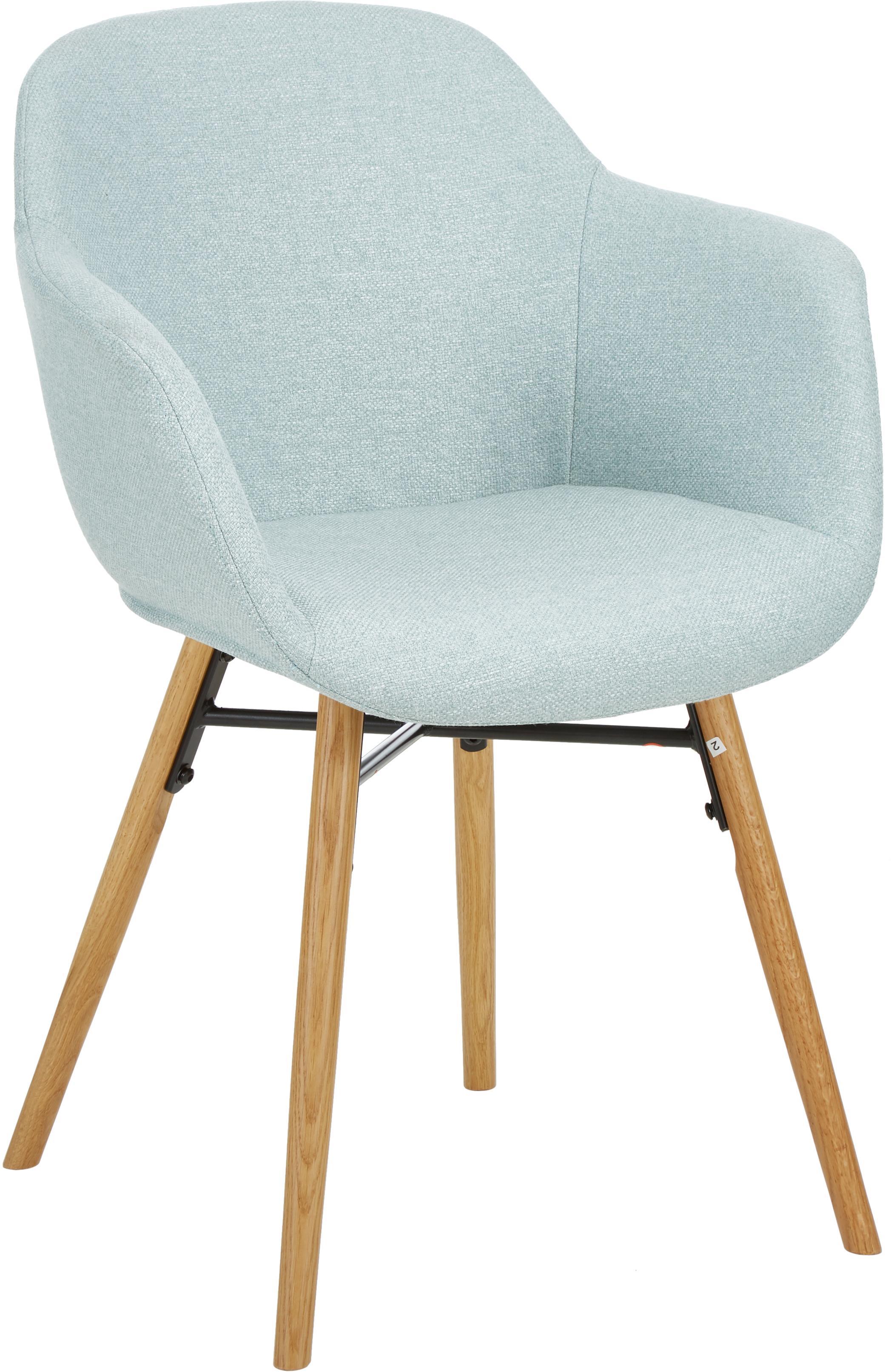 Krzesło tapicerowane Fiji, Tapicerka: poliester 40 000 cykli w , Nogi: lite drewno dębowe, Siedzisko: jasny niebieski Nogi: drewno dębowe, S 59 x G 55 cm