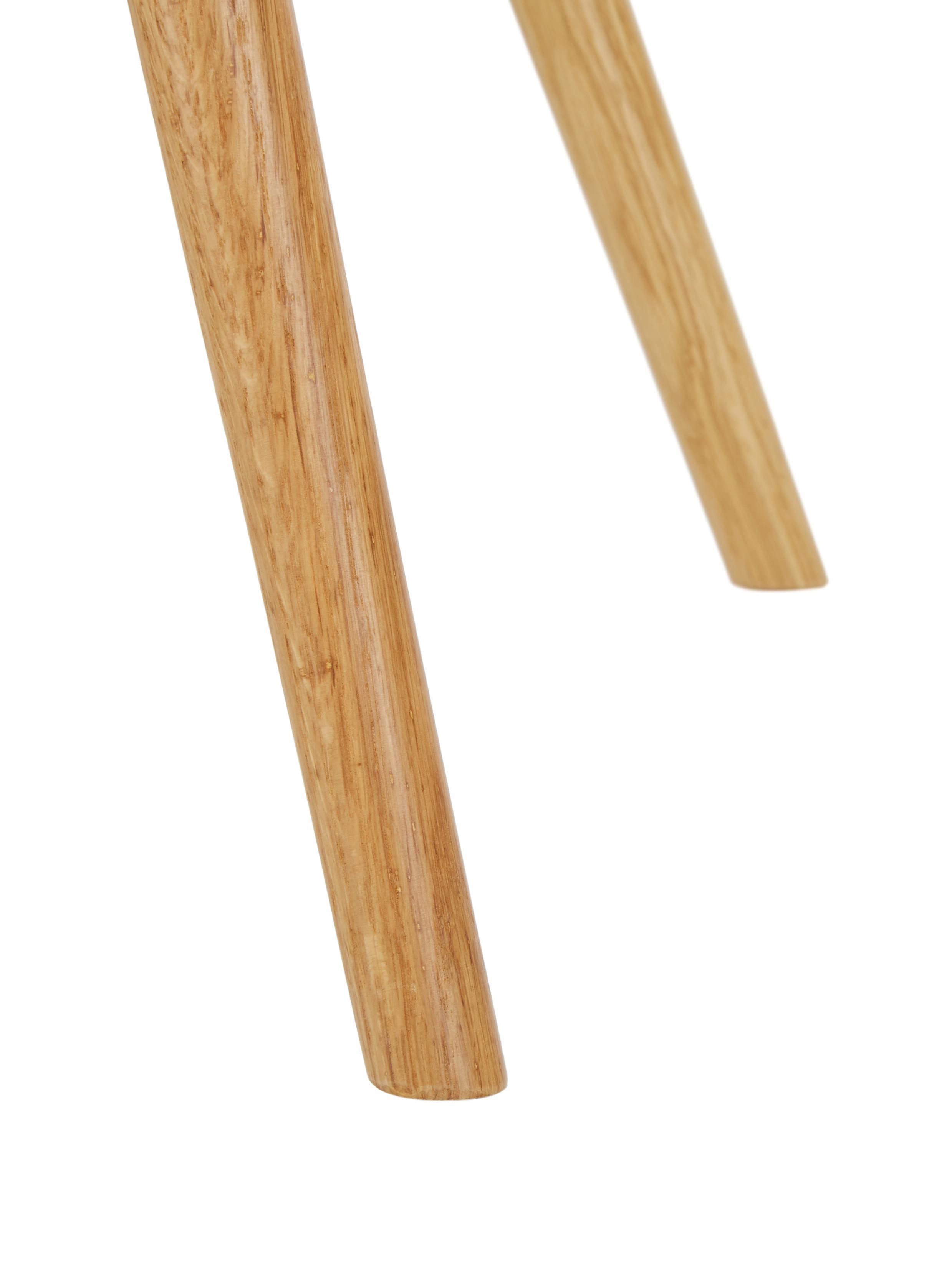 Armlehnstuhl Fiji mit Holzbeinen, Bezug: Polyester 40.000 scheuert, Beine: Massives Eichenholz, Webstoff Hellblau, Beine Eiche, B 59 x T 55 cm