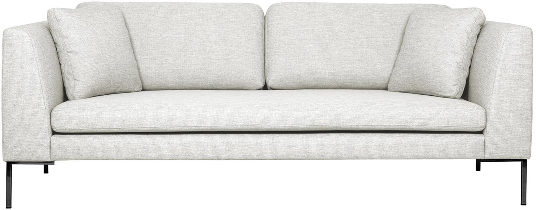 Sofa Emma (3-Sitzer), Bezug: Polyester 100.000 Scheuer, Gestell: Massives Kiefernholz, Webstoff Cremeweiss, Füsse Schwarz, B 227 x T 100 cm