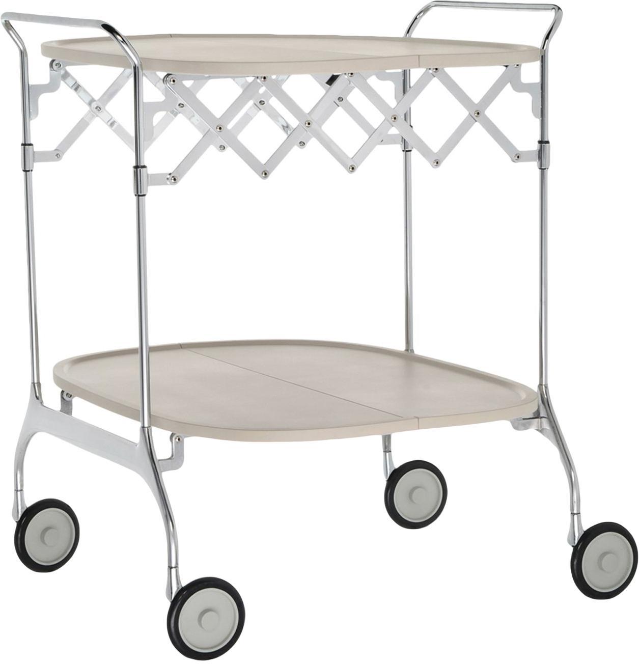 Bar cart Gastone, Frame: gelakt staal, Plank: nylon, glasvezelversterkt, Crèmekleurig, staal, 68 x 70 cm