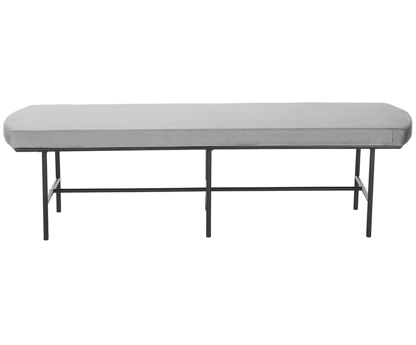 Samt-Sitzbank Jasper, Bezug: Samt (Polyester) 20.000 S, Beine: Metall, pulverbeschichtet, Grau, 160 x 45 cm