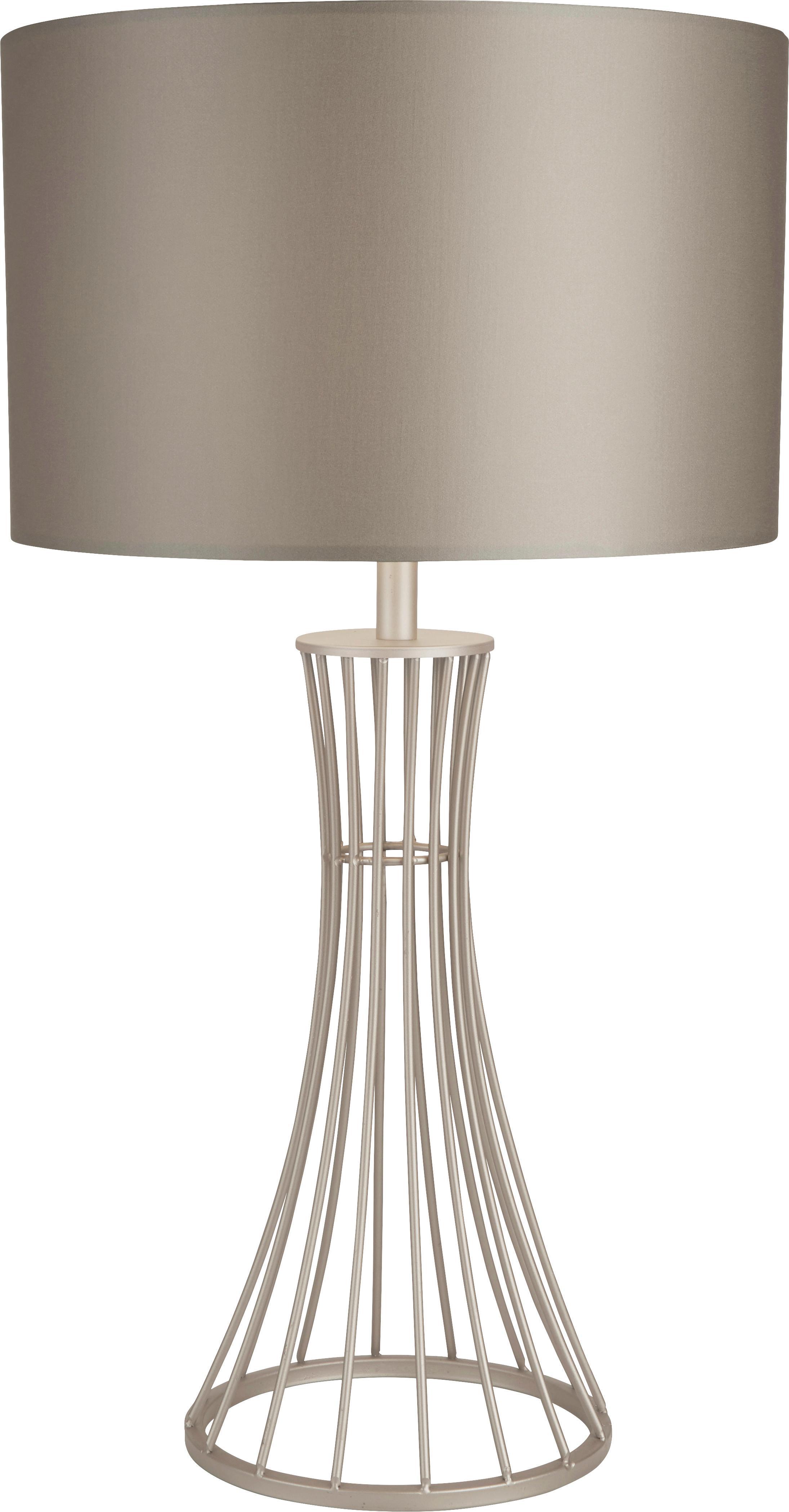 Lampada da tavolo color champagne Nanaya, Paralume: tessuto, Base della lampada: acciaio rivestito, Champagne, Ø 35 x Alt. 66 cm