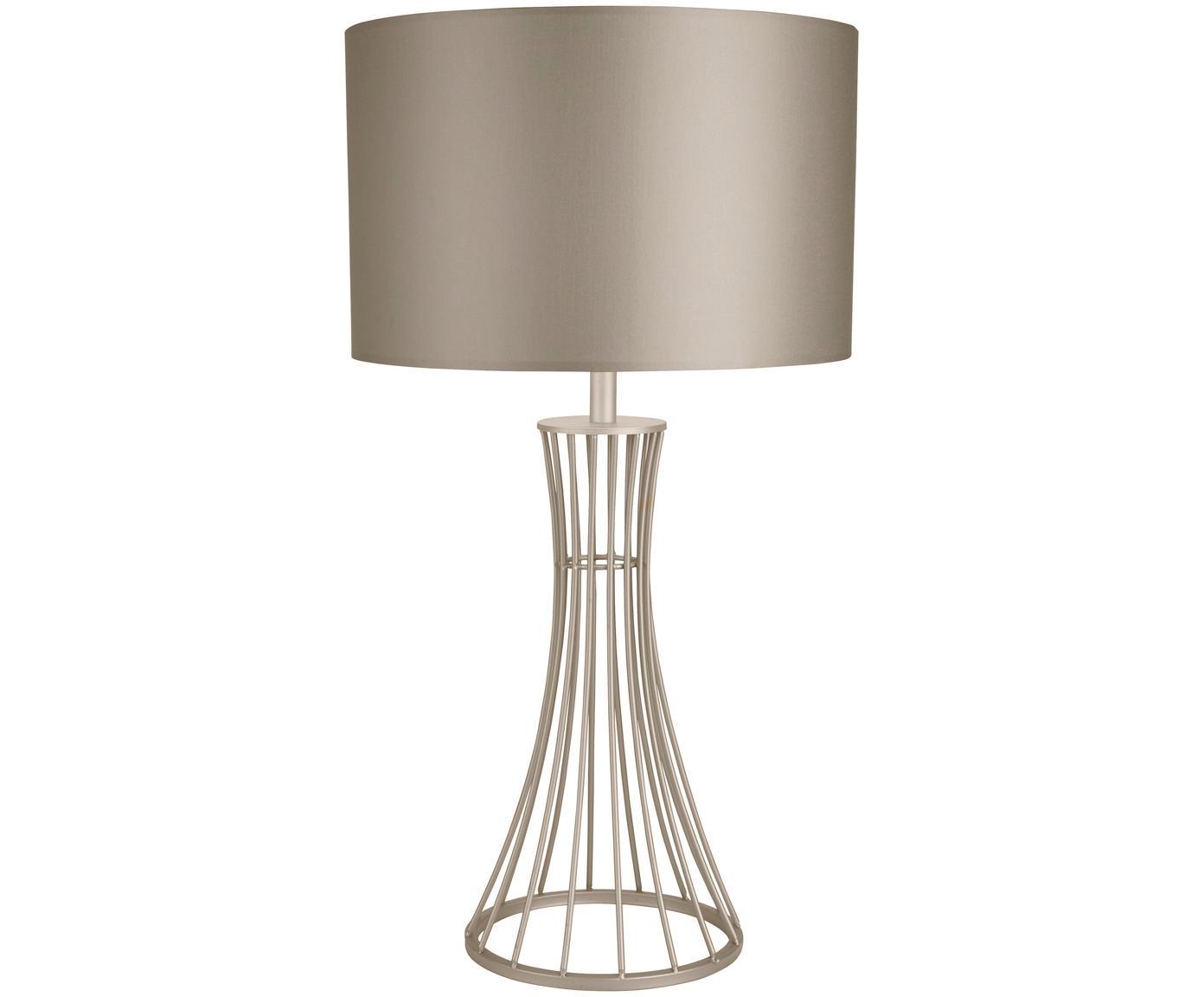 Tafellamp Nanaya in champagnekleur, Lampenkap: textiel, Lampvoet: gecoat staal, Champagnekleurig, Ø 35 x H 66 cm