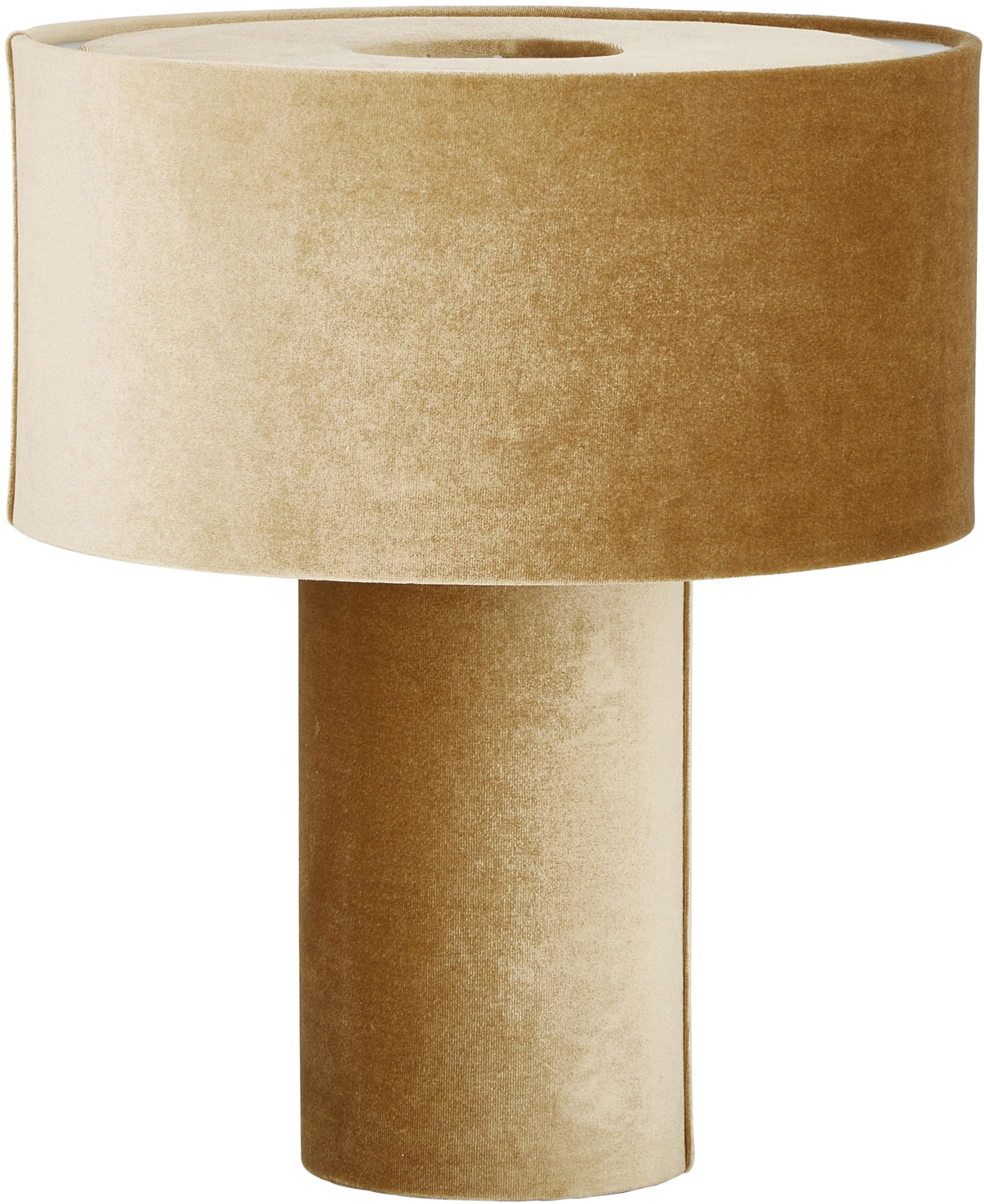 Lámpara de mesa de terciopelo Frida, Pantalla: terciopelo, Cable: cubierto en tela, Mostaza, Ø 30 x Al 36 cm