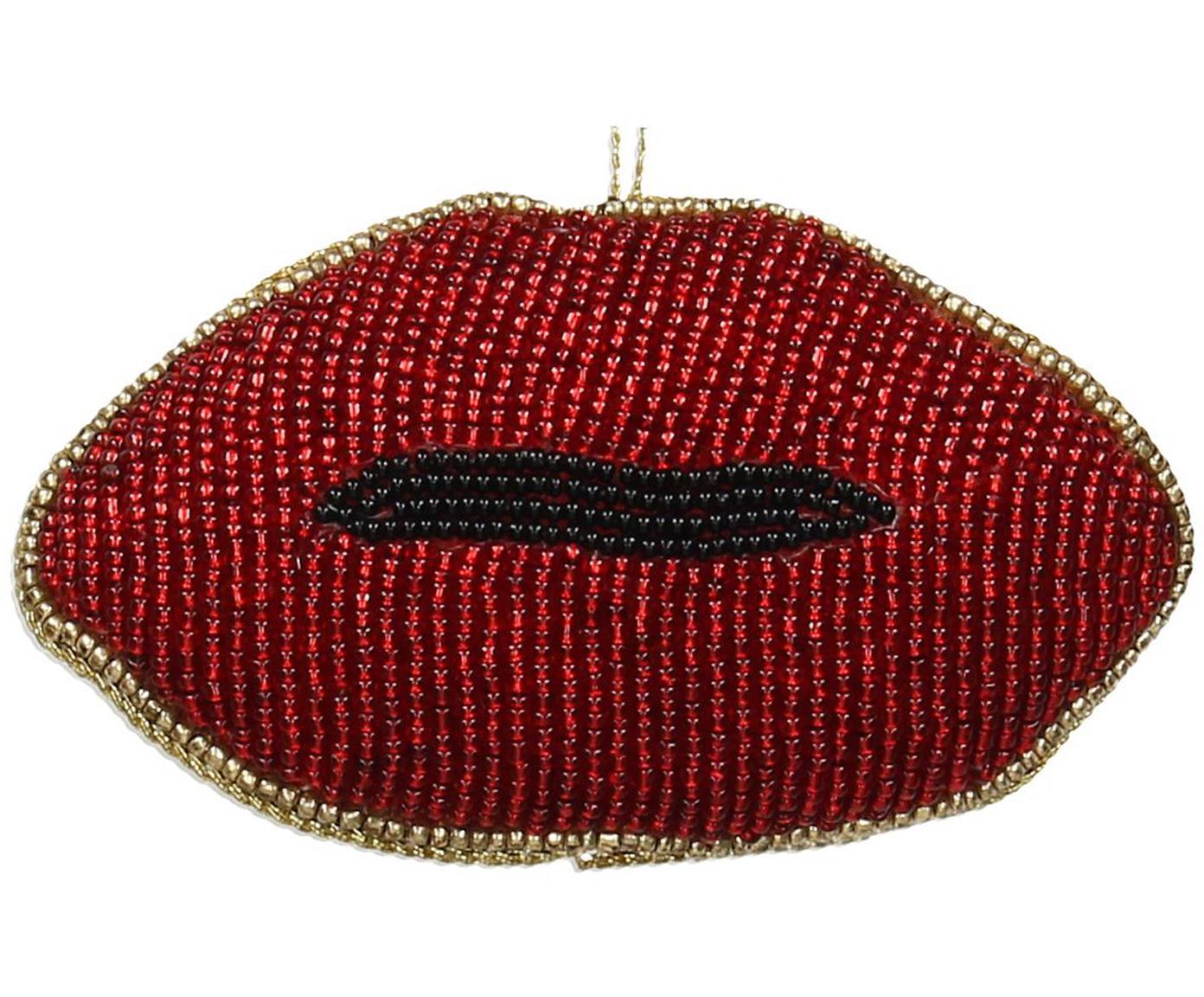 Baumanhänger Lips, 2 Stück, Rot, Schwarz, Goldfarben, 11 x 6 cm