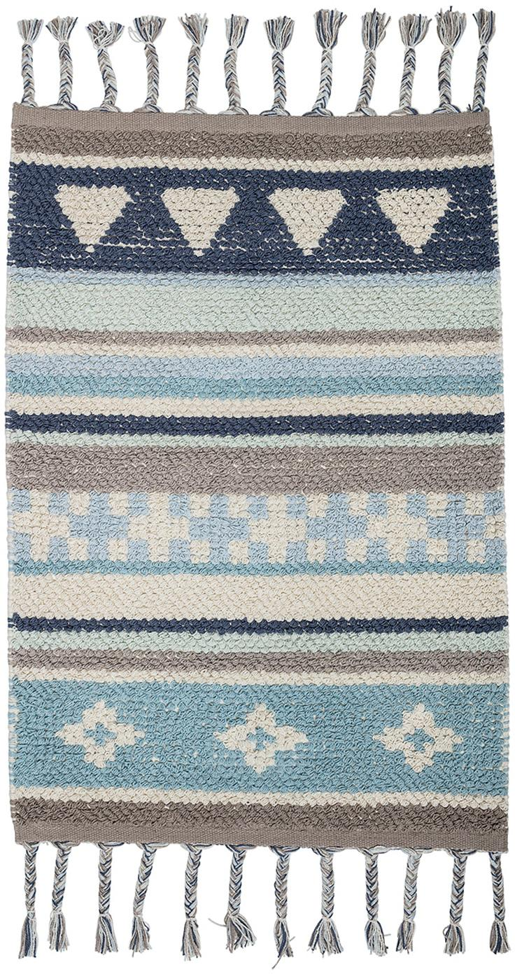 Alfombra Nagou, Algodón, Tonos azules, gris, beige, An 60 x L 90 cm