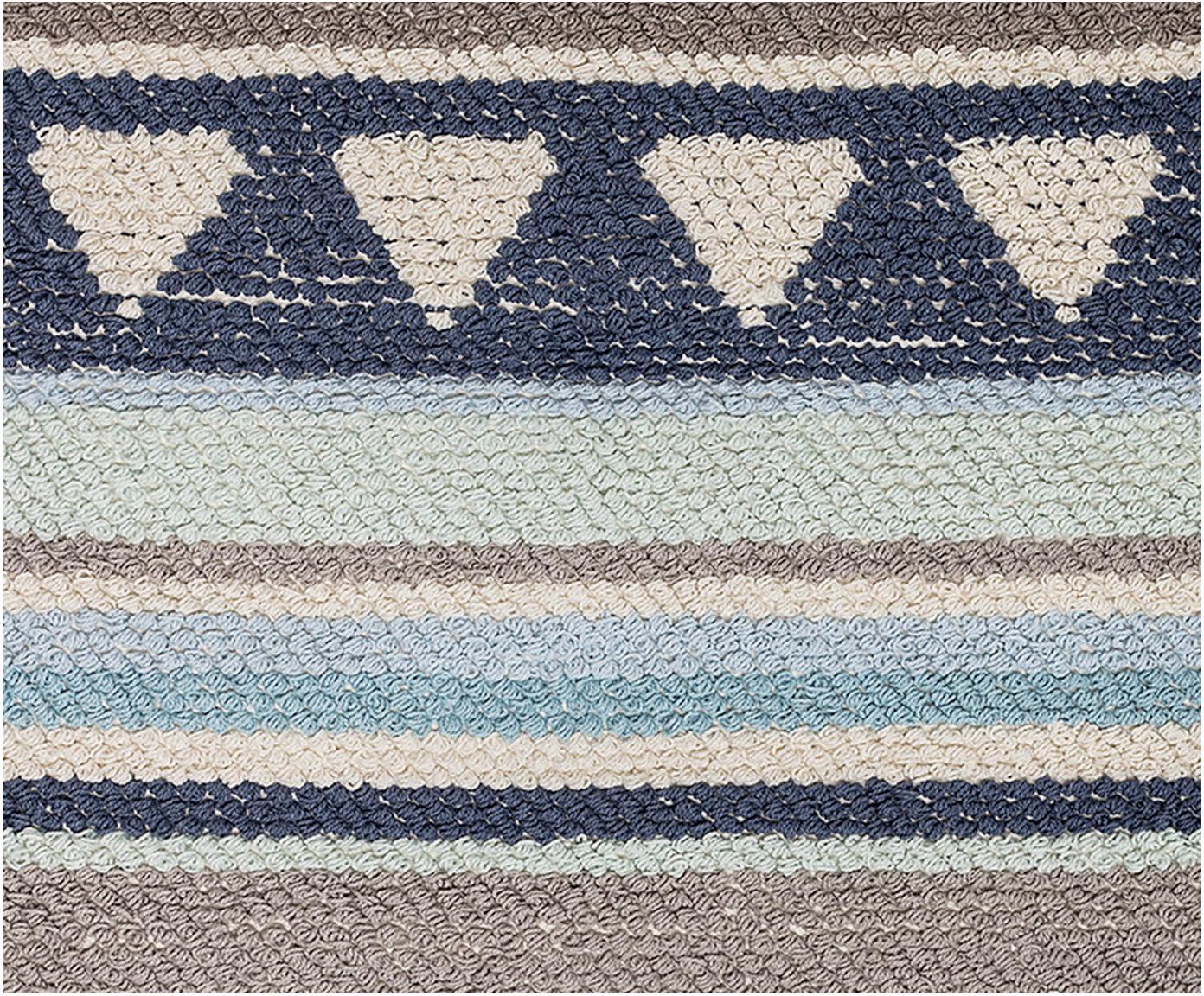 Teppich Nagou, Baumwolle, Blautöne, Grau, Beige, 60 x 90 cm