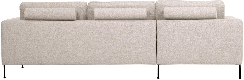 Sofa narożna Cucita (3-osobowa), Tapicerka: tkanina (poliester) Tkani, Stelaż: lite drewno sosnowe, Nogi: metal malowany proszkowo, Beżowy, S 262 x G 163 cm