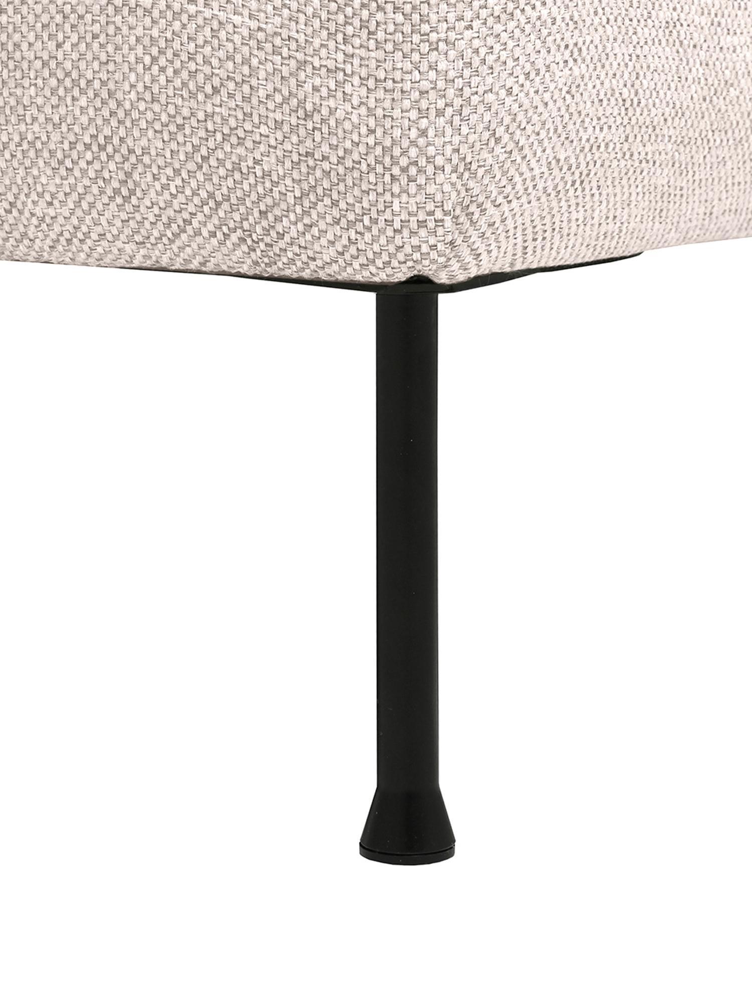Hoekbank Cucita (3-zits), Bekleding: geweven stof (polyester), Frame: massief grenenhout, Poten: gelakt metaal, Geweven stof beige, B 262 x D 163 cm