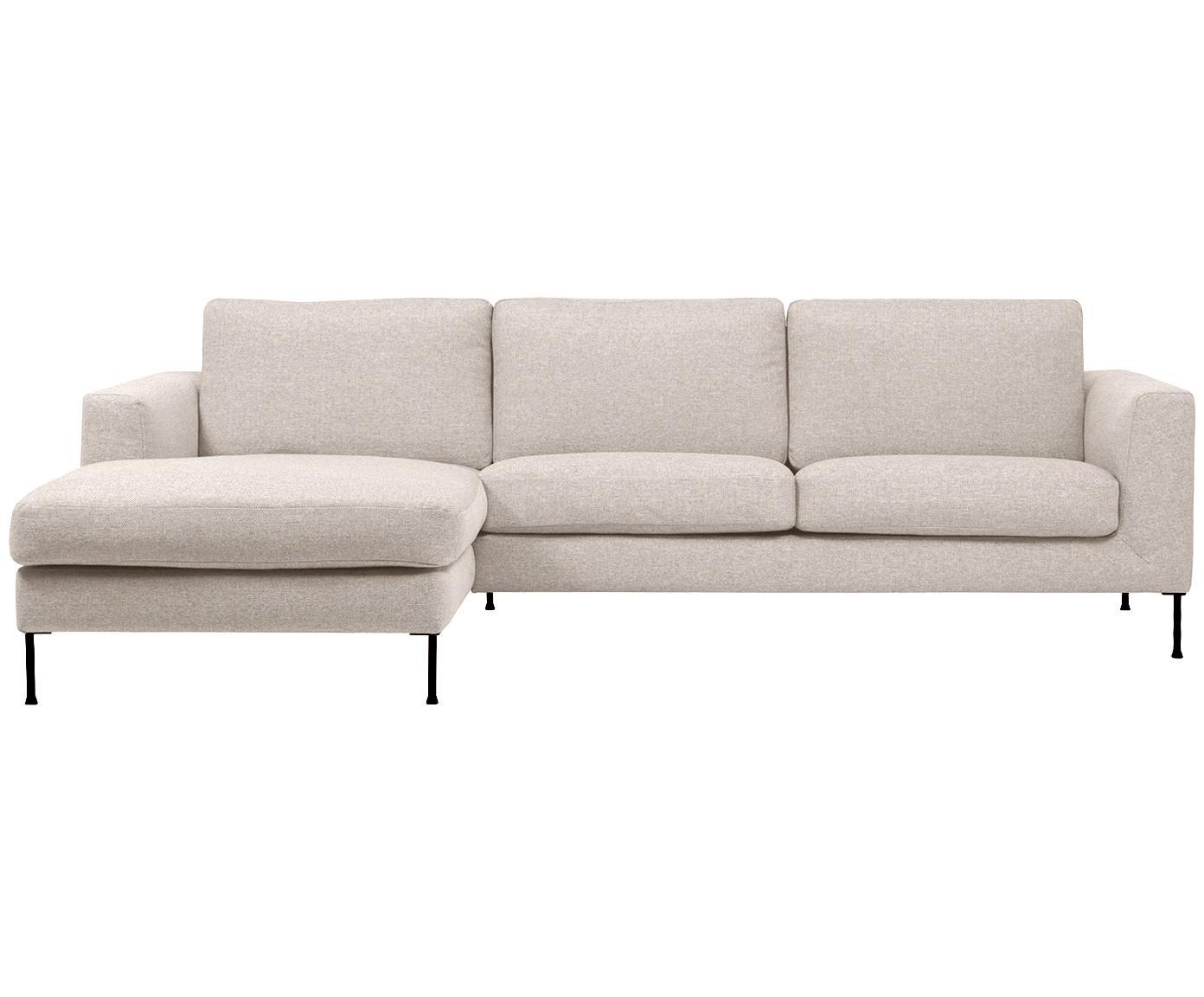 Hoekbank Cucita (3-zits), Bekleding: geweven stof (polyester), Frame: massief grenenhout, Poten: gelakt metaal, Beige, B 262 x D 163 cm