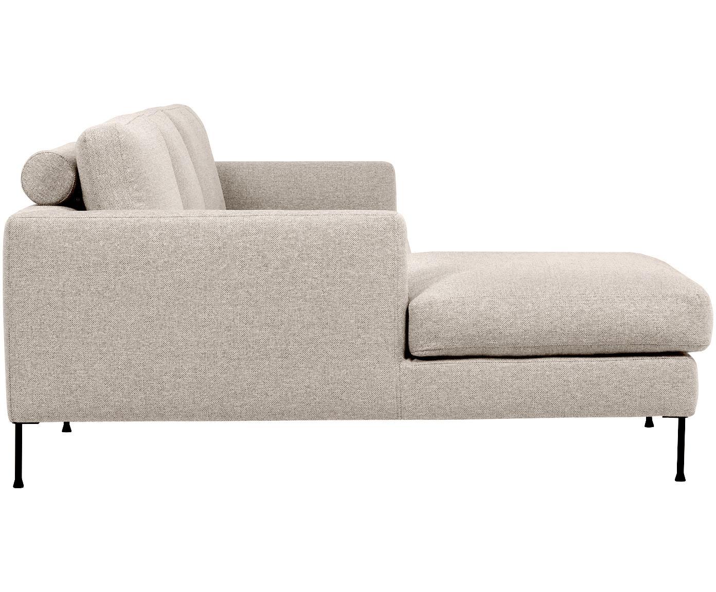 Ecksofa Cucita (3-Sitzer), Bezug: Webstoff (Polyester) 100., Gestell: Massives Kiefernholz, Webstoff Beige, B 262 x T 163 cm