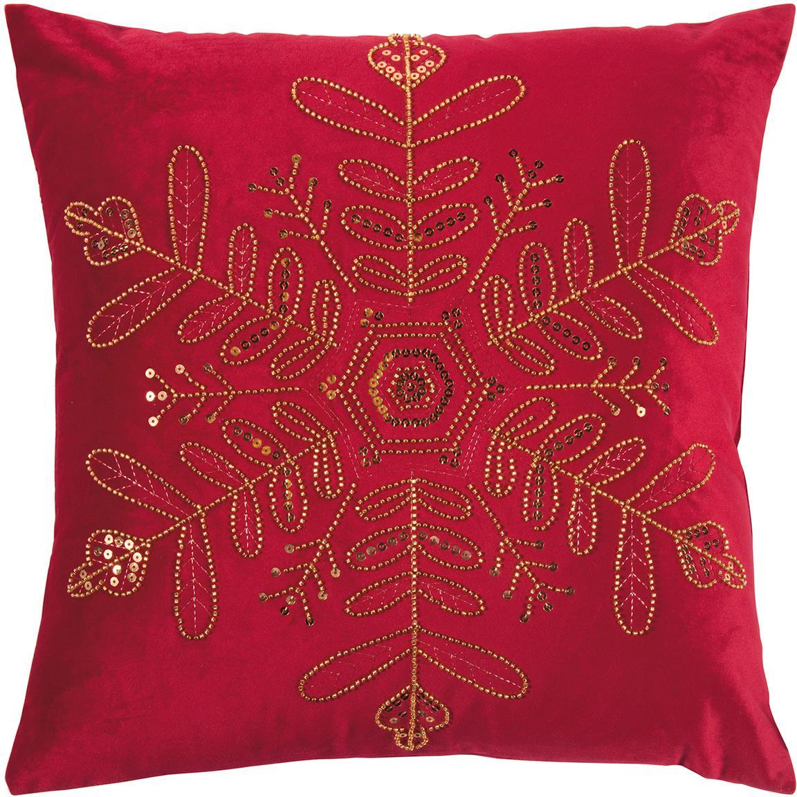 Federa arredo in velluto Sparkle, Velluto di poliestere, Rosso, dorato, Larg. 45 x Lung. 45 cm