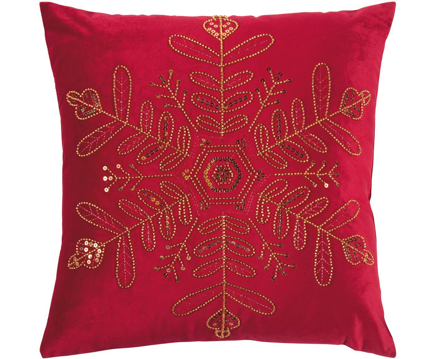 Fluwelen kussenhoes Sparkle met geborduurd parelmotief, Polyester fluweel, Rood, goudkleurig, 45 x 45 cm
