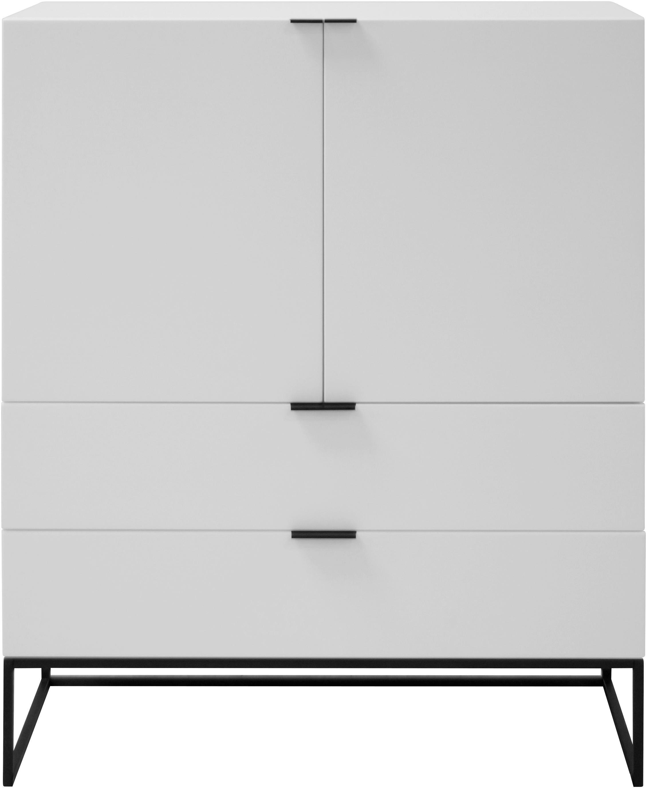 Vysoká skříňka se zásuvkami Kobe, Konstrukce: matná bílá Rám aúchyty: matná černá