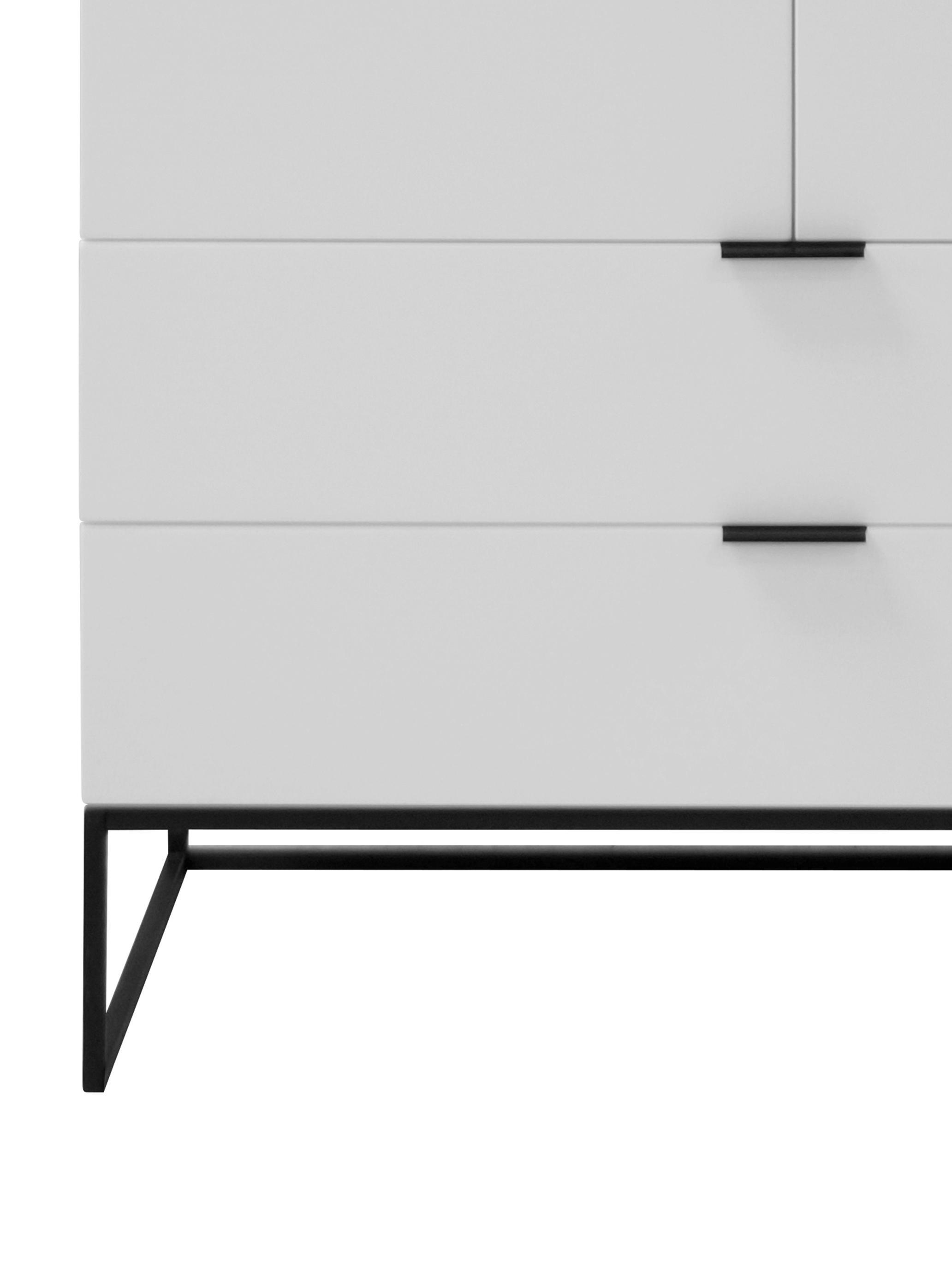 Weißes Highboard Kobe mit Schubladen, Korpus: Weiß, matt Gestell und Griffe: Schwarz, matt, 100 x 120 cm