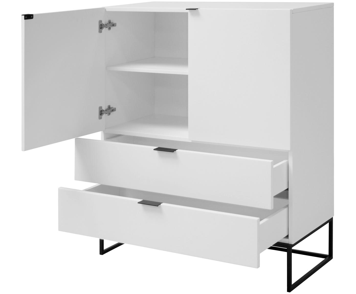 Wit dressoir Kobe met lades, Kast en voorzijde: mat wit. Frame en handvatten: mat zwart, B 100 cm