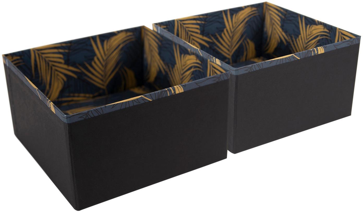Organizadores Drawer, 2uds.., Cartón laminado macizo, Dorado, gris azulado, An 18 x Al 10 cm