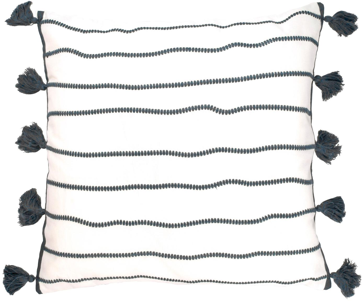 Poszewka na poduszkę z chwostami Blanket, Bawełna, Czarny, biały, S 50 x D 50 cm