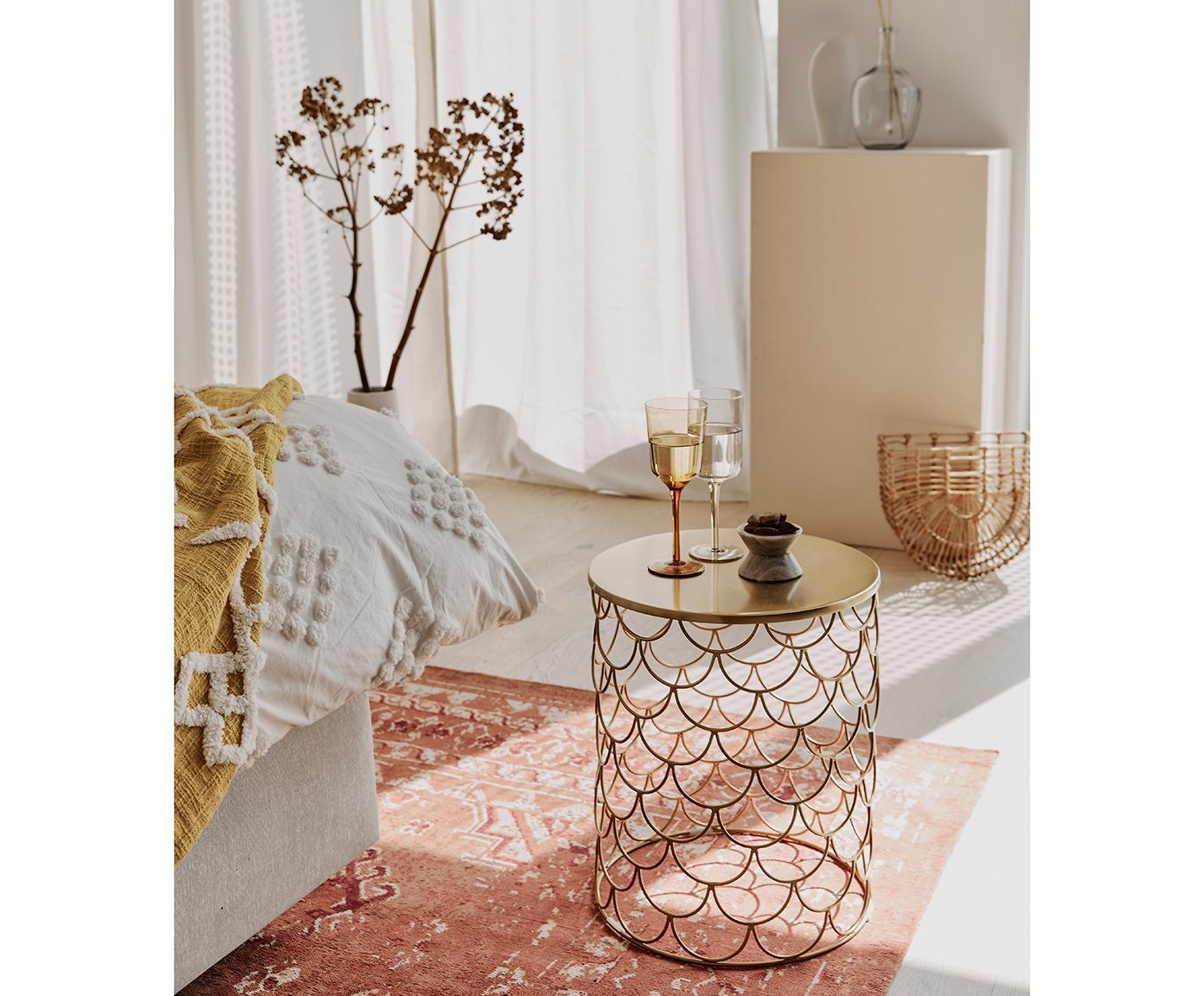 Stolik pomocniczy z metalu River, Metal powlekany, Odcienie złotego, lekko błyszczący, Ø 41 x W 50 cm