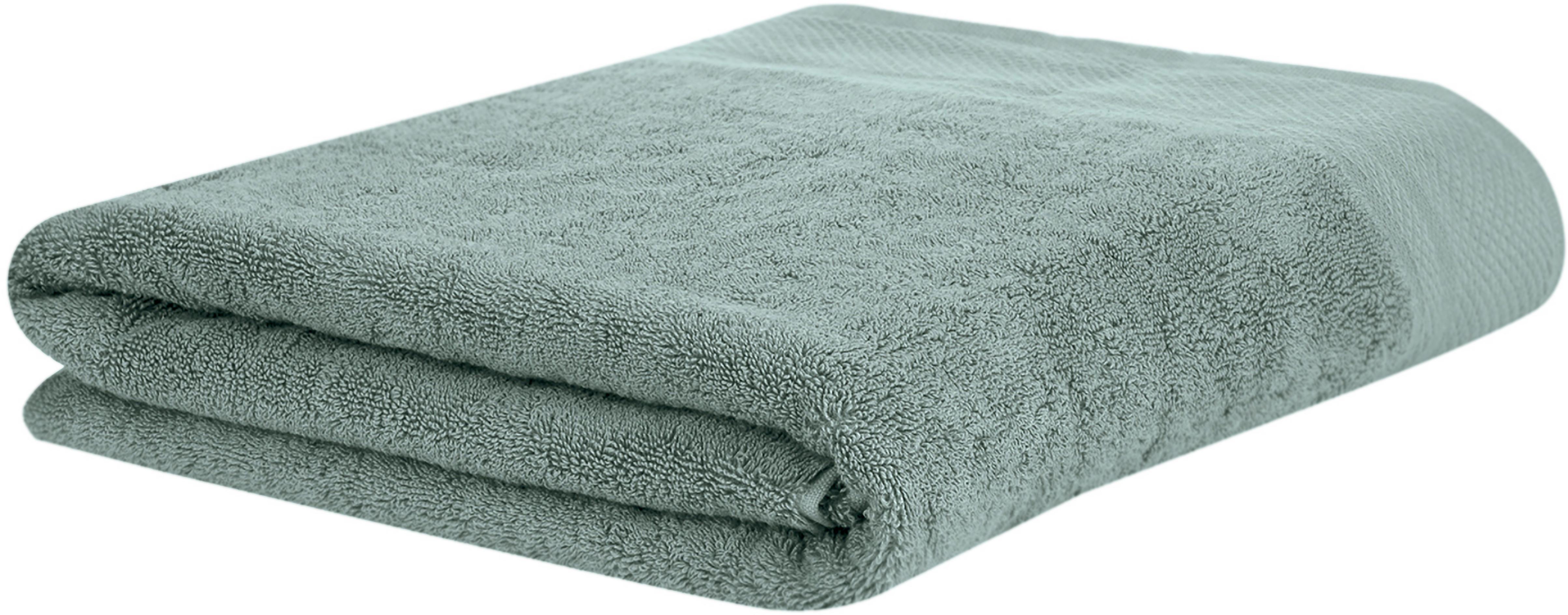 Toalla con cenefa clásica Premium, 100%algodón Gramaje superior 600g/m², Verde salvia, Toalla baño