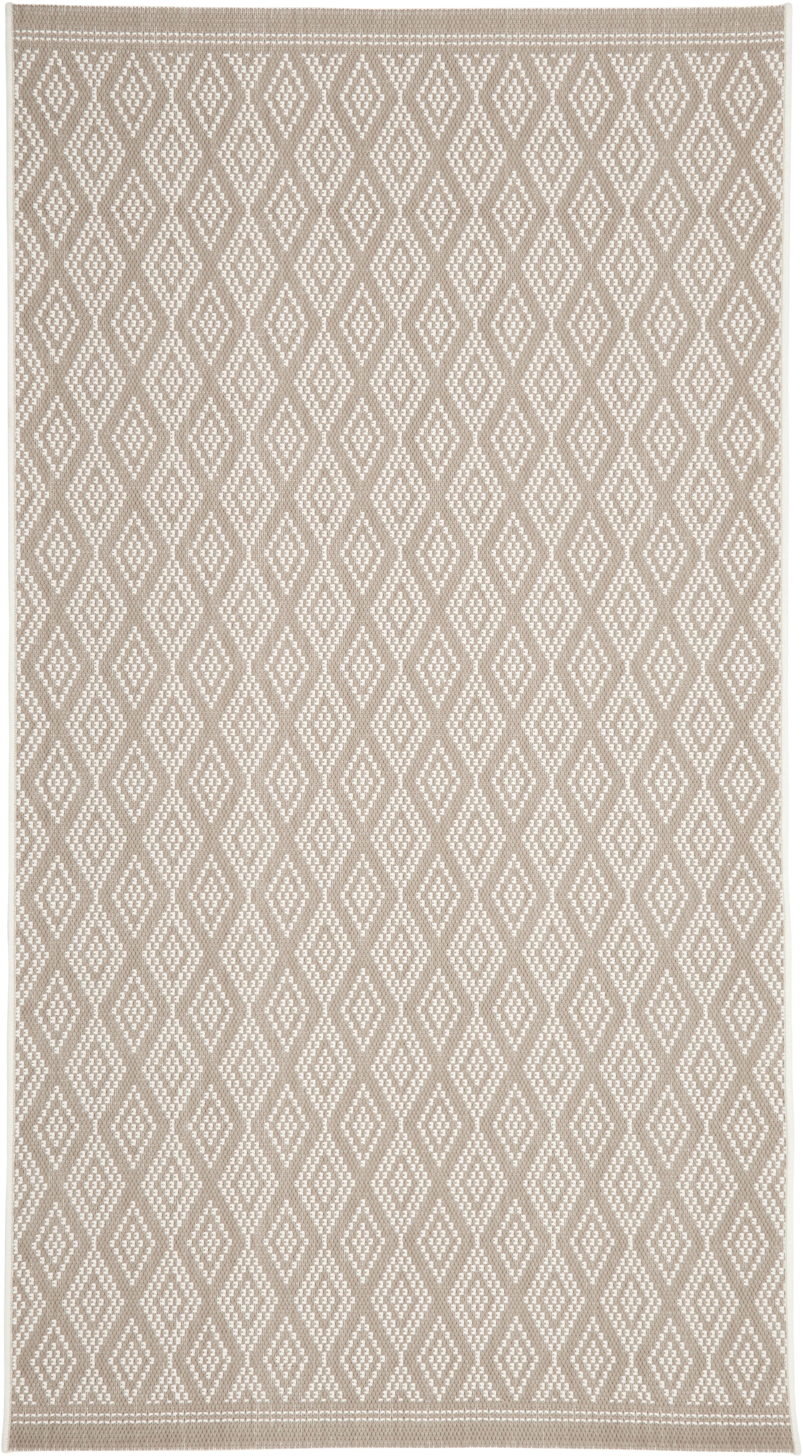 In- & outdoor vloerkleed Capri in beige/crèmekleurig, Bovenzijde: polypropyleen, Onderzijde: polyester, Crèmewit, beige, B 80 x L 150 cm (maat XS)