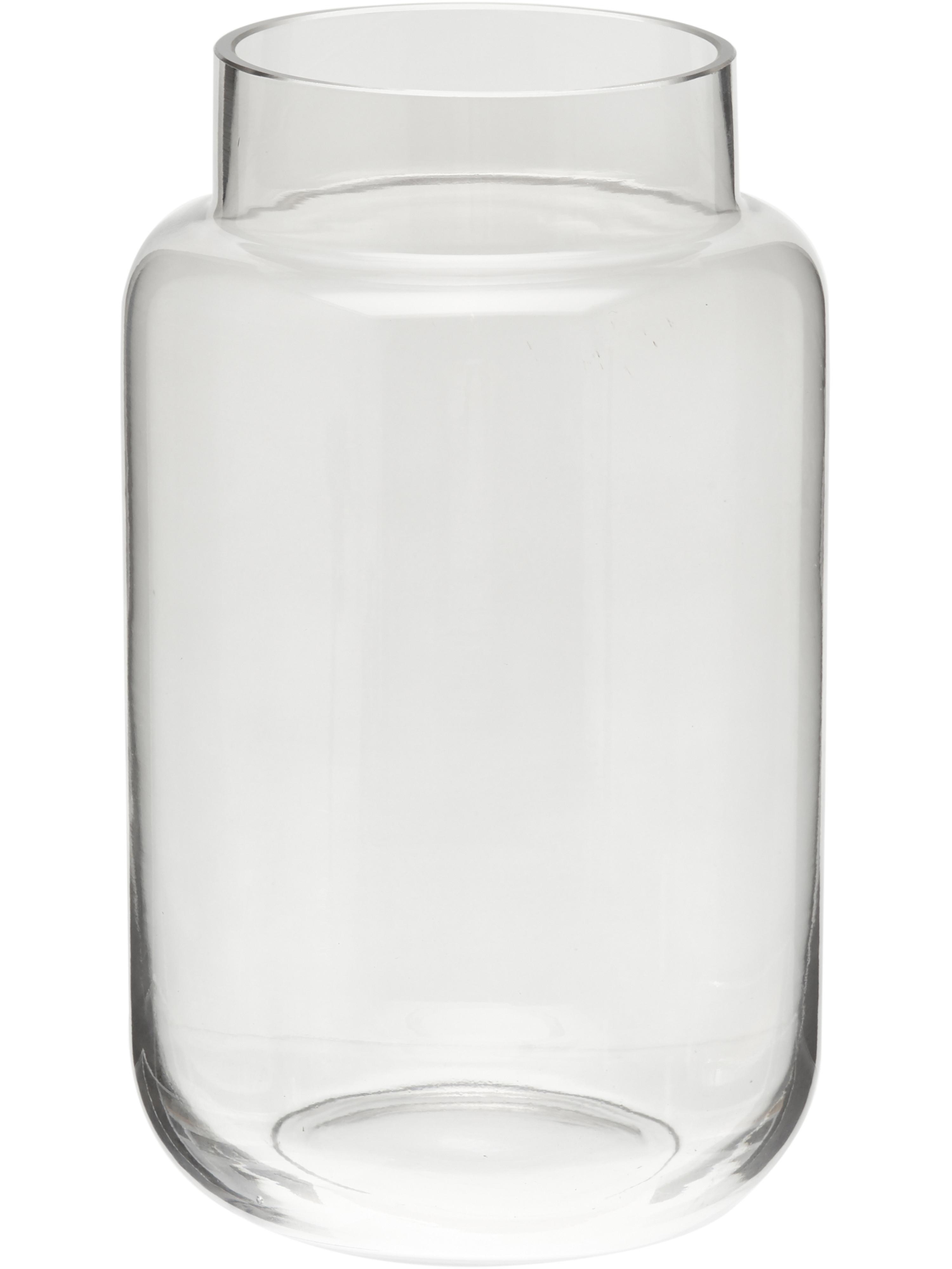 Jarrón grande de vidrio Lasse, Vidrio, Gris, transparente, Ø 14 x Al 23 cm