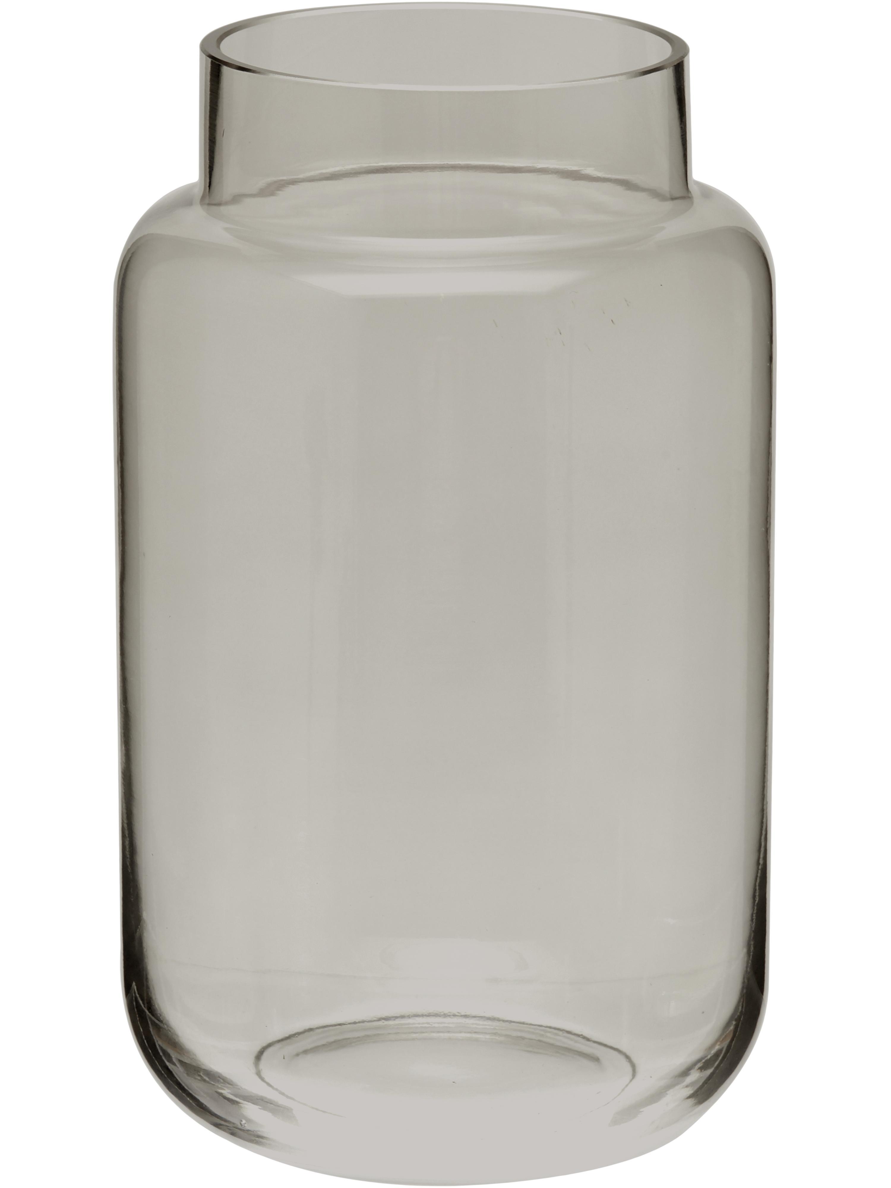 Glas-Vase Lasse, gross, Glas, Grau, transparent, Ø 13 x H 22 cm