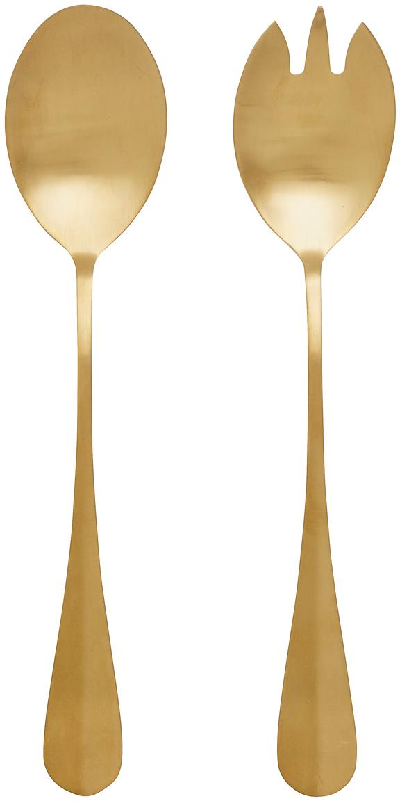 Goldfarbenes Salatbesteck Goldy aus Edelstahl, 2er-Set, Edelstahl, PVD beschichtet, Goldfarben, matt, L 25 cm