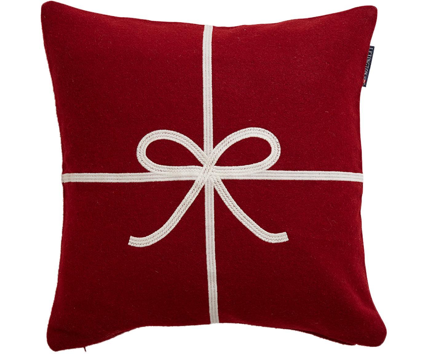 Kissenhülle Bow im Geschenk-Look, Wolle, Rot, Weiß, 50 x 50 cm
