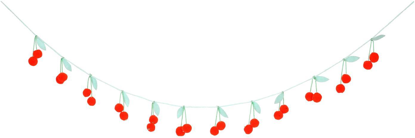 Ghirlanda in cotone organico Cherry, 200 cm, Cotone organico, Rosso, verde, Lung. 200 cm