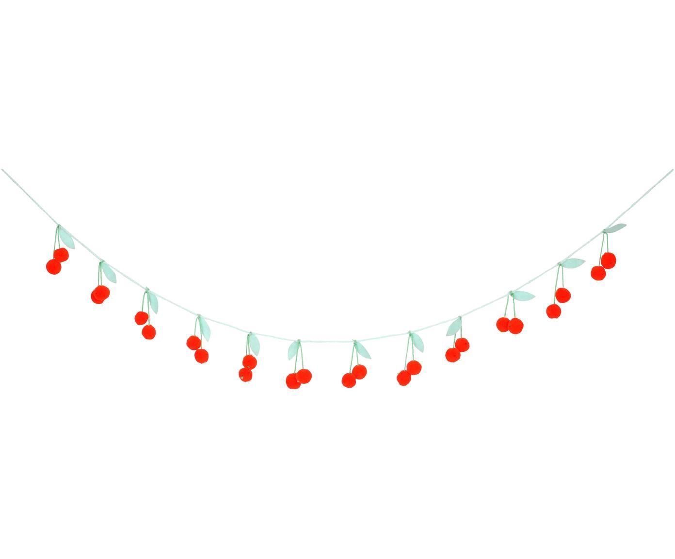 Girlande Cherry aus Bio-Baumwolle, 200 cm, Bio-Baumwolle, Rot, Grün, L 200 cm