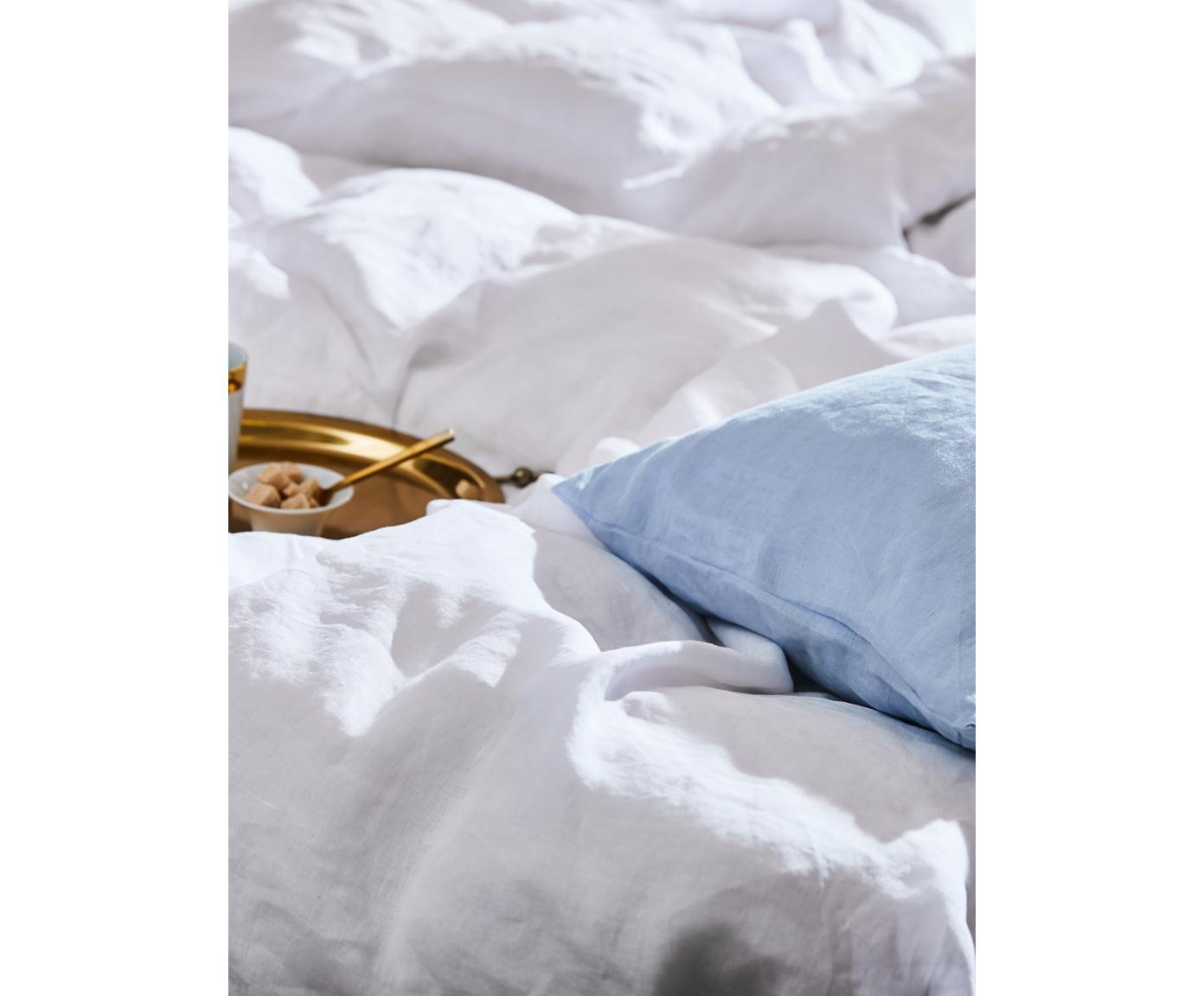 Pościel z lnu z efektem sprania Nature, Biały, 155 x 220 cm